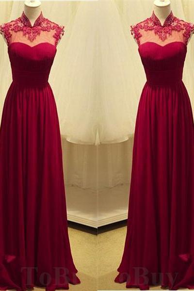 Alluring Wine Red Lace Appliques High-neck Sleeveless Full Length Prom Dress Wedding Party Dress Long Formal Dress