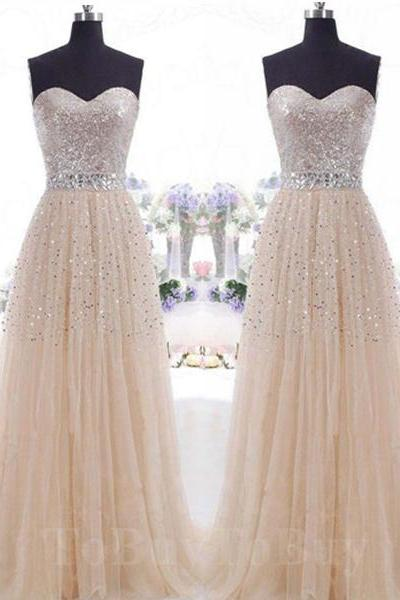 Cream Sequined Tulle A-line Sweetheart Sweep Train Tulle Prom Dress