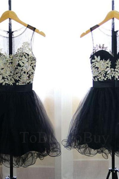 Embroidery Appliques Black Sheering Round Neckline Party Dress Prom Dress