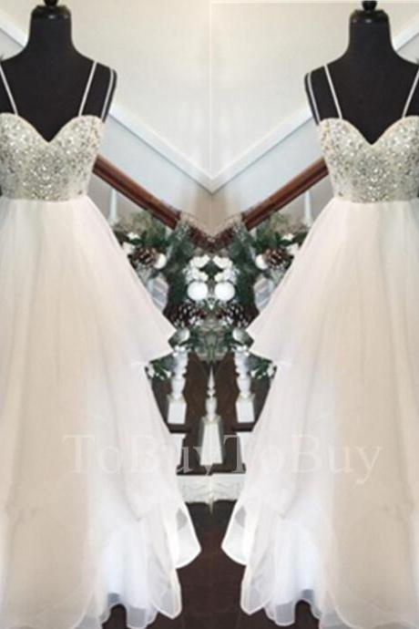 White Straps Beaded Bodice Asymmtrical Prom Dress Wedding Party Dress Long Formal Dress