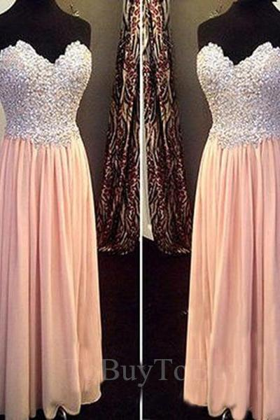 Shiny Pearl Pink Beaded Bodice Sweetheart Neckline Floor Length Prom Dress Long Formal Dress