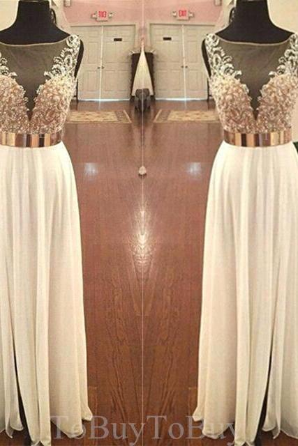 Super Hot Sexy Sheering Appliques Round Neckline Floor Length Prom Dress Long Formal Dress