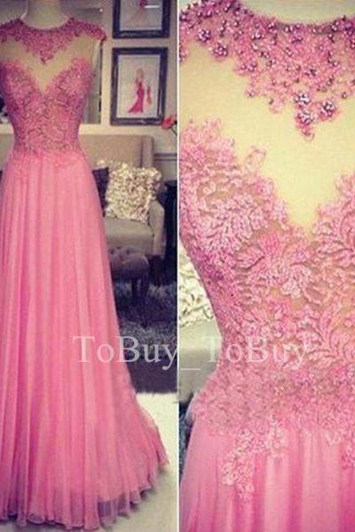 Glamorous Fuchsia Lace Appliques Sheering Round Neckline Floor Length Prom Dress Wedding Party Dress