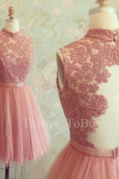 Mini Pearl Pink Lace Appliques High-neck Ball Gown Short Prom Dress Graduation Dress Wedding Party Dress