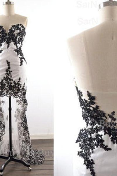 High-Low Black Lace Appliques White Sweetheart Neckline Prom Dress with Tulle Train