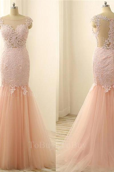 Fascinating Pearl Pink Lace Appliques Round Neckline Floor Length Prom Dress Bridal Dress Tulle Wedding Gown