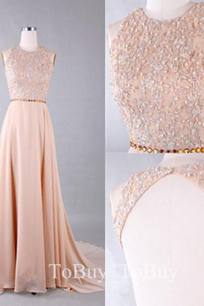 Orange Pink Beaded Bodice Backless Sweep Train Prom Dress Formal Dress