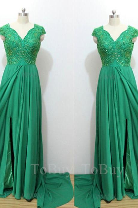 Hunter Green Pattern Beaded V-neck Slit Sweep Train Prom Dress Long Party Dress