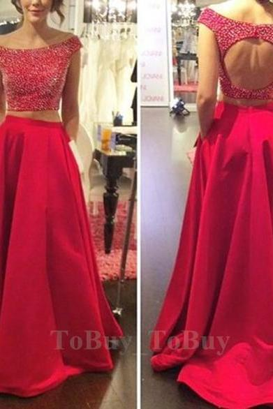 Beaded Bodice Off-shoulder Backless Red Two-piece Prom Dress Formal Dress 2016
