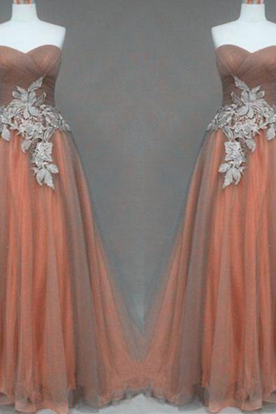 Silver Lace Appliques Orange Ball Gown Sweetheart Neckline Full Length Prom Dress Wedding Party Dress