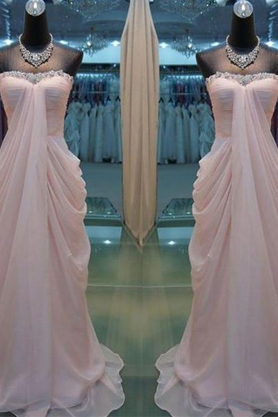 Alluring Pink Beaded Sheath/Column Strapless Sweep Train Prom Dress Graduation Party Dress